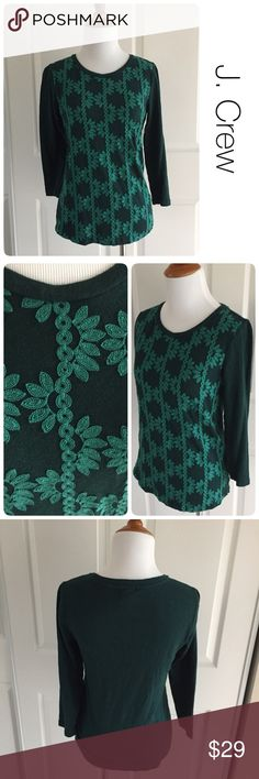 J. Crew engrams embroidered top size xs ♦️Excellent condition.  No holes, stains or piling                                                   ♦️Materials- 100% cotton                             ♦️Measurements:                                 ♦️Laying flat armpit to armpit: approximately 14.5 inches                                               ♦️Laying flat from the back of the neck to the bottom of the front hem is approximately 24 inches J. Crew Tops Tees - Long Sleeve