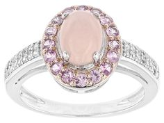 8x6mm Oval Peruvian Pink Opal With .57ctw Pink Sapphire And .27ctw White Zircon Sterling Silver Ring