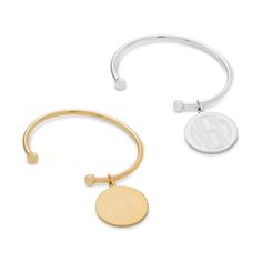 This personalized large metallic disc cuff bracelet from our new, exclusive collection is a fun, shimmery way to add your monogram to your wardrobe! Choose from a gold or silver charm and bracelet, and add your monogram, to the charm FREE.  https://www.thingsremembered.com/medium-metal-monogram-bracelets/product/341582?fcref=pinterest