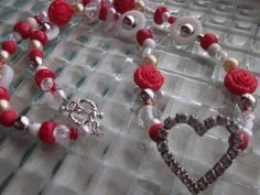 Heart Necklace Rhinestone Heart Red Necklace Crystal by mscenna, $15.00