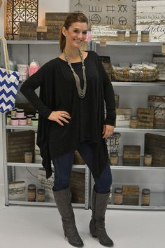 Asymmetrical Charcoal Gray Top –barefootgypsyboutique.com