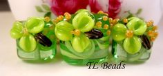 Appletini Green Handmade Lampwork Glass Floral Flower by TLBeads, $23.00