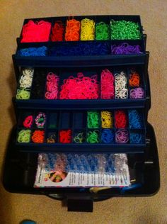 Repurposed the hubby's old tackle box for all the Rainbow Loom bands. The looms fit in the bottom and everything is neat and organized!
