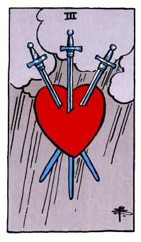 Swords Minor Arcana of the Raider-White tarot I - Spiritual Reading The heart which appears on the Three of Swords is a symbol of life's inevitable pain points. Perhaps the heart is a symbolic of you, someone you love, or a dire situation you have found yourself in http://www.spiritual-reading.net/swords-minor-arcana-of-the-raider-white-tarot-i/ #tarot