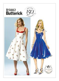 B5882 | Butterick Patterns This dress is just pretty. I am not sure how the shelf bust will work with my figure, but this dress is adorable and I usually don't go for 1950s-1960s inspired fashion, I prefer the 1930s-1940s.