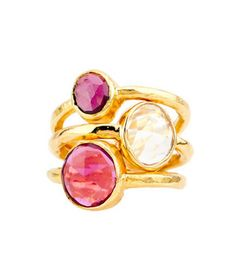 Robindira Unsworth 22k Gold Vermeil Stackable Pink Garnet Ring Set  This ring set featuring shades of pink and hammered gold vermeil can be a beautiful token of affection for someone affected by breast cancer. Robindira Unsworth will donate 20 percent of the proceeds to breast cancer research.