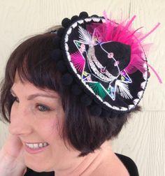 Hair Fascinator Clip Accessory Black Pink Mini Hat Mexican Charro Sombrero Cinco De Mayo Fiesta Party