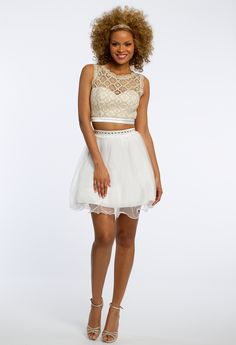 Two Piece Lace Beaded Trim Dress #camillelavie