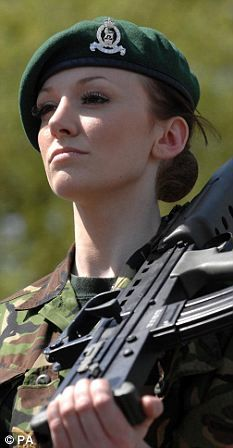 Corporal Katrina Hodge, also Miss England.  Known to her Army colleagues as Combat Barbie, Katrina, 22, has stunned the military and modelling worlds alike with her determination to combine the two.    'I like the fact I can come to work with no make-up on and roll around in mud,' she says. 'But I like being glamorous and girlie as well. Becoming Miss England is a dream come true. But I'm not just representing the country. I'm representing the British Army.'