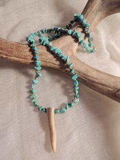 Turquoise Deer Antler Tip Necklace. Real Antler Jewelry