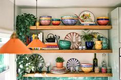 bohemian kitchen open shelving
