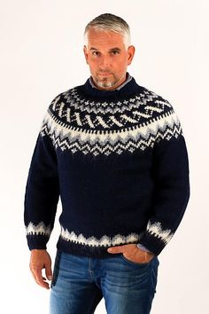 Icelandic sweaters and products - Traditional Wool Pullover Blue Wool Sweaters - NordicStore Fair Isle Knitting Patterns, Knitting Designs, Sweater Shop, Men Sweater, Sweaters For Women, Hand Knitted Sweaters, Wool Sweaters, Pull Jacquard, Icelandic Sweaters