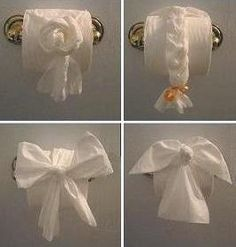 Surprise your guests with these fancy toilet paper folds (or you could do it in other people's bathrooms).  What fun and a little crazy!