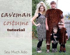 DIY Caveman family costume tutorial by Sew Much Ado