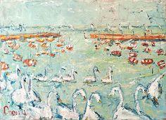 Deborah Donnelly-Swans Bray Harbour #art #painting #beach #summer #waves #coast #boats  #sunny #sunshine #DukeStreetGallery Cupcake Images, Oil Painting Texture, Summer Waves, Street Gallery, Vivid Imagery, Farm Yard, Swans, Brush Strokes, Kitsch