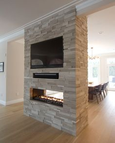 You Cannot Resist These 3 Living Room with Fireplace Ideas - Home Design and Decor Fireplace Feature Wall, Two Sided Fireplace, Linear Fireplace, Double Sided Fireplace, Freestanding Fireplace, Shiplap Fireplace, Open Fireplace, Fireplace Remodel, Living Room With Fireplace