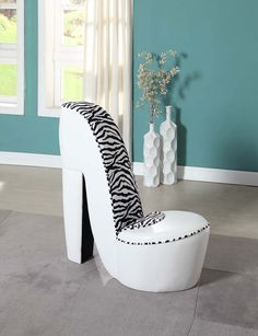 Ordinaire High Heel Shoe Chair   White PU With Zebra Print Perfect For A Teenu0027s Room!