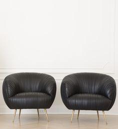 KELLY WEARSTLER | SOUFFLE CHAIR. Black leather