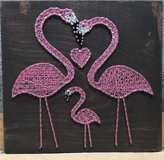 Embroidery On Paper Flamingo Family - Flamingo family fun on this dark stain. Paper Embroidery, Learn Embroidery, Embroidery Patterns, Floral Embroidery, String Art Patterns, Craft Patterns, New Crafts, Arts And Crafts, Flower Tutorial