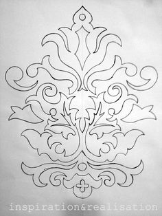damask baroque design template --Can be adapted for stenciling by adding a few bridges to the top and the bottom motif segments so the centers don't drop out.damask baroque design template painting this on a mat for photos of my kids right now. Stencil Patterns, Stencil Designs, Embroidery Patterns, Mirror Shop, Mirror Art, Mirror Panels, Mirror Bathroom, Mirror Vanity, Design Baroque