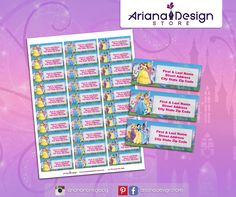Disney Princess Printable Address Labels - Avery 8920 or similar / Disney Princess Return Address Labels / Mailing Labels School Labels, Mailing Labels, Princess Tiana, Invitation Kits, Return Address Labels, My Design, Printables, Lettering, Diy