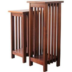2 Piece Walnut Mission Plant Stand Set