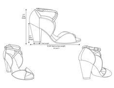 Women's shoe technical fashion flat sketch
