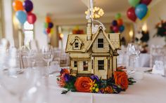 Very Cute for film fans! Up table centres. Photography by Mark Leonard Photography #up #disney #wedding