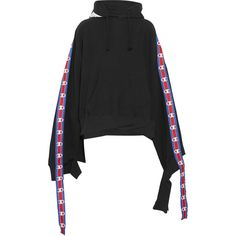 Vetements + Champion cotton-blend jersey hooded top ($975) ❤ liked on Polyvore featuring tops, hoodies, sweaters, sweatshirts, sleeve hoodie, cutout tops, cutout sleeve top, hooded pullover and sweatshirt hoodies