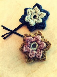 Handmade Crochet Black Pink and Gold Flower Hair by CatWomenCrafts, $8.00