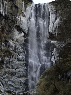 Waterfall Pistyll Rhaeadr in North Wales, February 2012