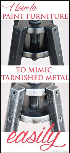 Easy How-to Tutorial for making painted furniture look like tarnished metal... I love this! {All Things Thrifty}