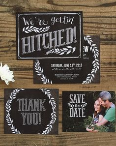 Cute chalkboard art wedding invitation set.  Personalize this invitation set with your colors, text, and even photos with real-time previews of each change.  Custom printed sample available.