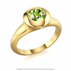DESTINY ROUND | Designer Ring with Peridot in 18k Yellow Gold