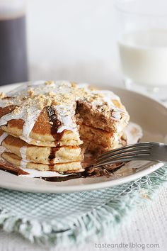 S'mores Pancakes – graham cracker pancakes covered with homemade chocolate syrup and marshmallow sauce I love doing themed weeks. And I had all intentions of doing a s'mores week this summer. but then this last weekend, I looked around my kitchen, and this is what I found – 3 different kinds of homemade ice cream...