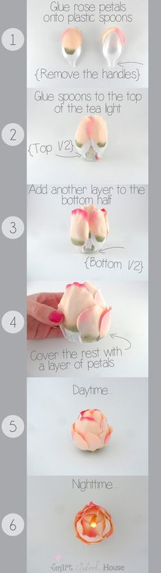 Make these right now, using plastic spoons, battery operated tealights, and silk rose petals. Gorgeous for weddings, showers, and romantic evenings.