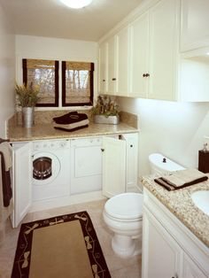 Transitional Bathroom in Aurora - beige granite countertops, woven window coverings | by Luxe Interiors