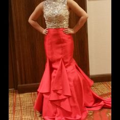 ON SALEJune 12 2016 The mint condition. Worn twice at your Miss Colorado's Outstanding Pageant. It is a show stopper and looks grate on stage. The dress is red with a beaded bodice. Selling cheaper on ️️ $700 plush shipping Jovani Dresses Prom