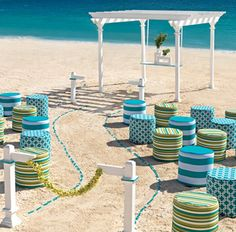 All inclusive Hard Rock Tiffany Blue Tiuquoise Beach wedding ceremony decorations