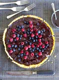 Chocolate Creme Fraiche Boysenberry Tart
