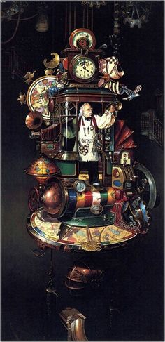 steampunk-art — emporioefikz: Illustrations by Dean Morrissey Steampunk Kunst, Steampunk Design, Steampunk Fashion, Steampunk Clock, Diesel Punk, Steampunk Illustration, Decoupage, Animation, Christmas Art
