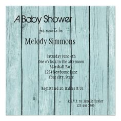 Rustic Blue Faux Wood Baby Shower Custom Announcements