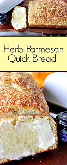 Cheesy Monterey Jack Jalapeno Quick Bread Italian Herb Parmesan Quick Bread comes together in a snap with only one bowl, one spoon, and no kneading required. – Kudos Kitchen by Renee Italian Cheese Bread, Italian Bread Recipes, Quick Bread Recipes, Bread Machine Recipes, Baking Recipes, Parmesan Cheese Bread Recipe, Quick Bread Rolls, Artisan Bread Recipes, Snacks Recipes