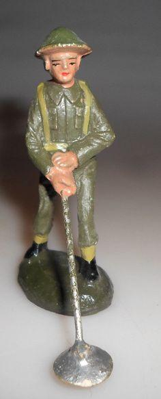 alter DURSO Vorkrieg Masse Soldat mit Minensuchgerät Engländer / Belgier 7 cm | eBay