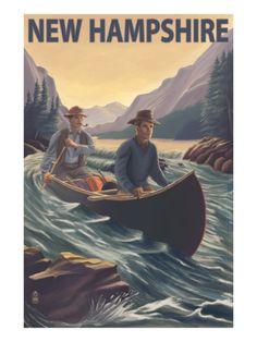 New Hampshire - Canoe on Rapids Print at Art.com