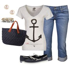 Nautical Look :) Christ is my anchor! Love this shirt and the boat shoes!
