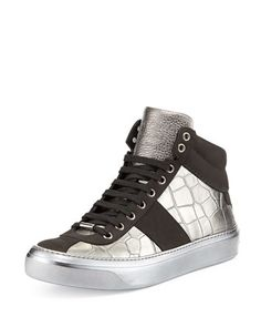 Belgravia Croc-Stamped High-Top Sneaker, Metallic by Jimmy Choo at Neiman Marcus.