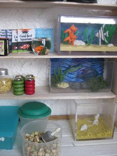 white mice and fishes, aquarium, very clever pet shop