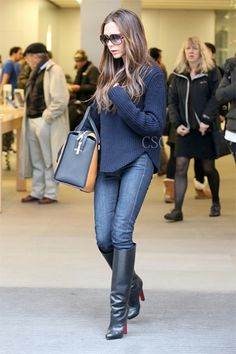 Victoria Beckham wore a navy cable Céline sweater in London January 28, 2013    #CelebrityStyleGuide