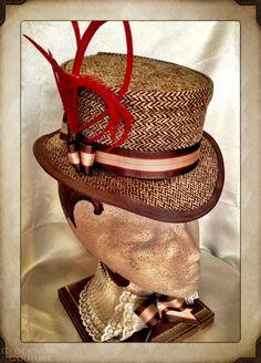 Ladies John Bull Tweed Hat Topper Top Hat by ClockworkCouture